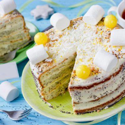 Лимонный торт с маком