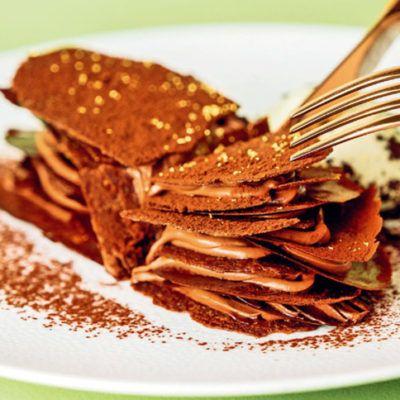 Мильфей шоколадный с пралине и мятным мороженым