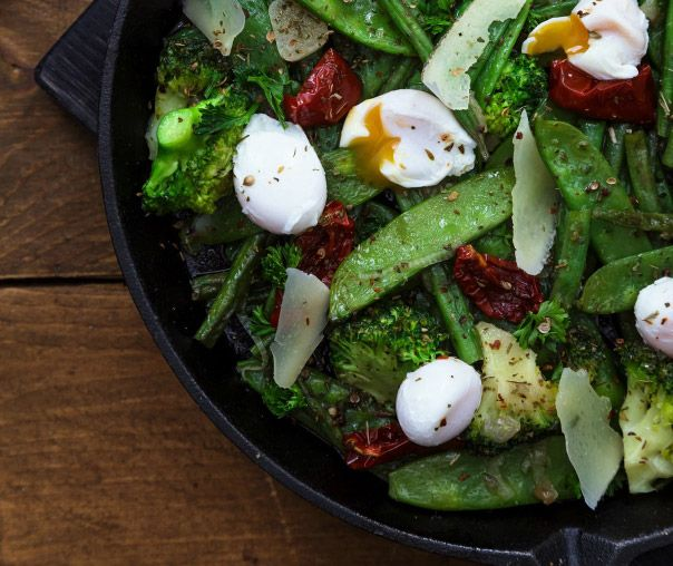 Пашот с зелеными овощами